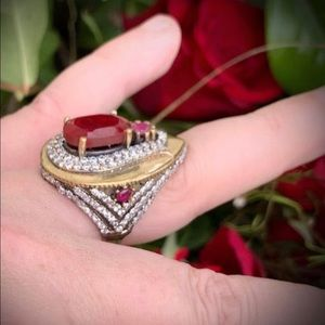 Ruby RING Size 8 Solid 925 Sterling Silver/Gold